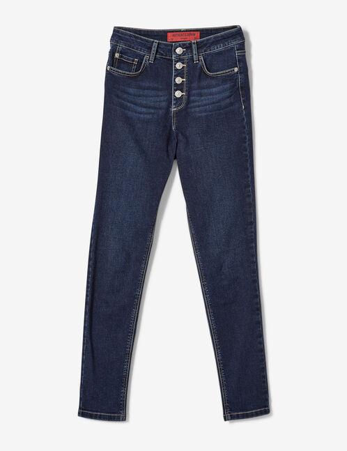 jean taille haute boutonné bleu foncé