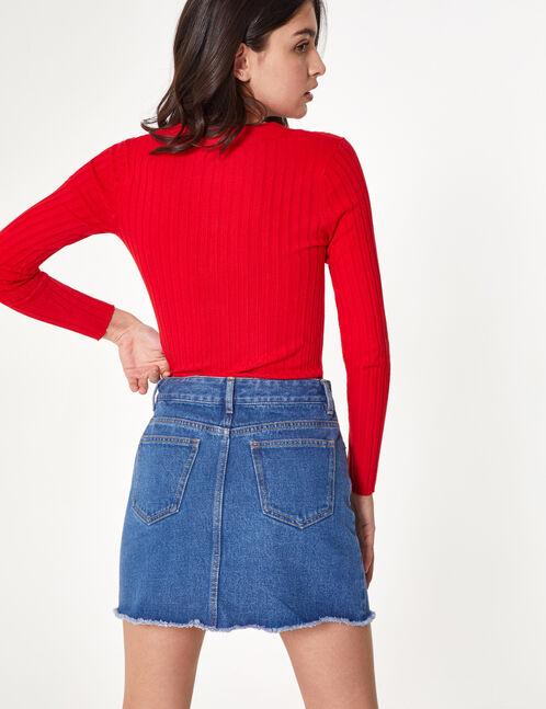 Blue denim skirt with zip detail