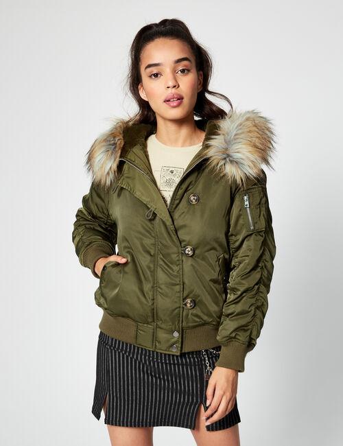 Satin padded jacket with hood