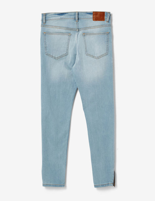 Light blue skinny jeans with zip detail