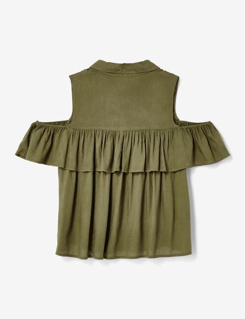 Khaki cold shoulder shirt