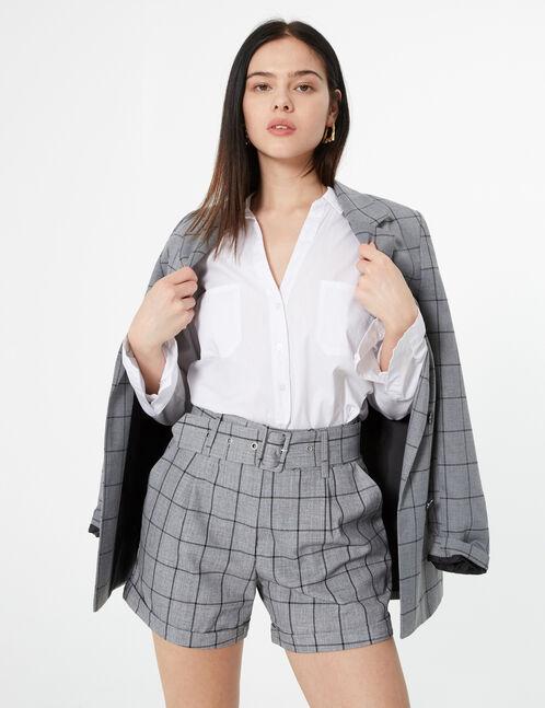 short taille haute carreaux