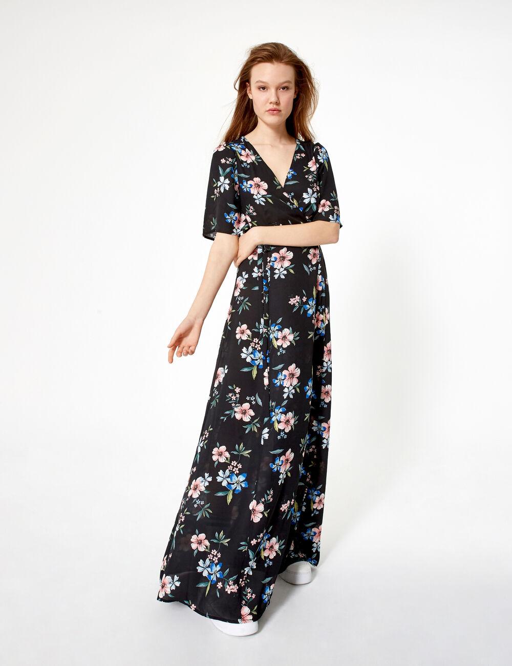 robe longue fleurs femme jennyfer. Black Bedroom Furniture Sets. Home Design Ideas
