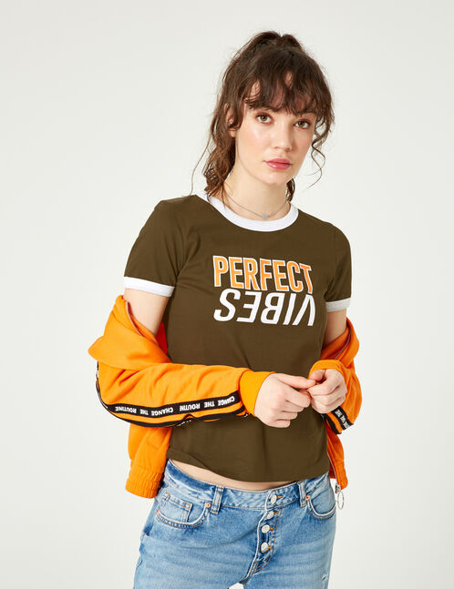 "Khaki, white and orange ""perfect vibes"" T-shirt"