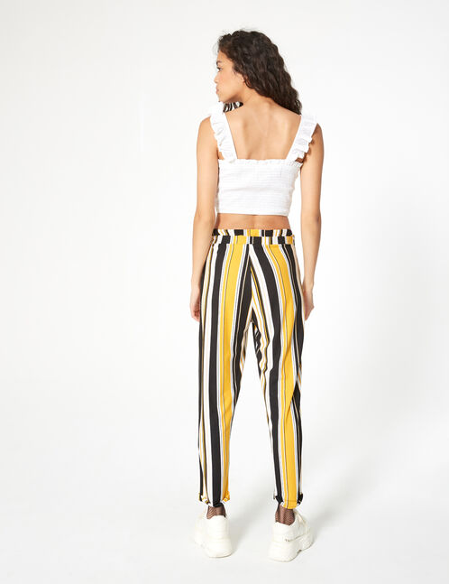 Black, white and yellow striped loose-fit trousers