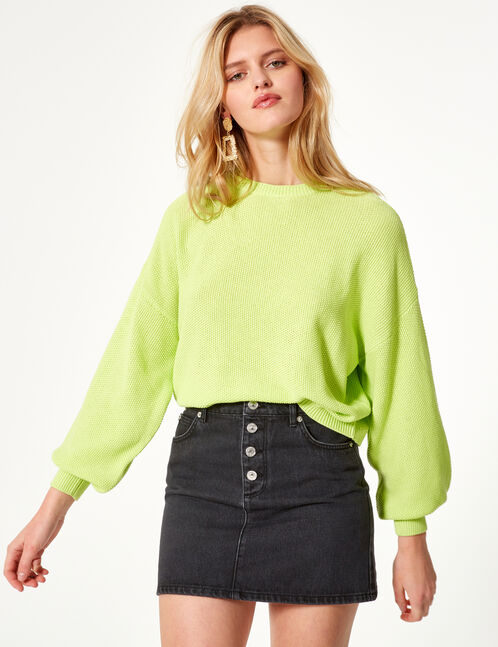 Neon green loose-fit textured jumper