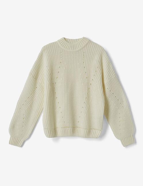 Cream openwork knit jumper