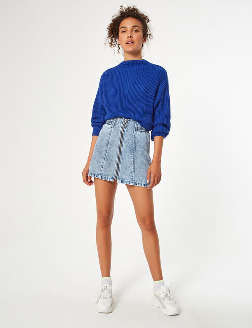 Denim skirt with zip detail