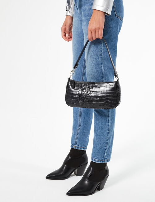 Faux crocodile-leather handbag