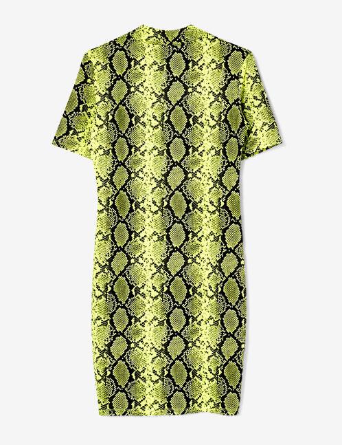 robe tube python jaune fluo et noire
