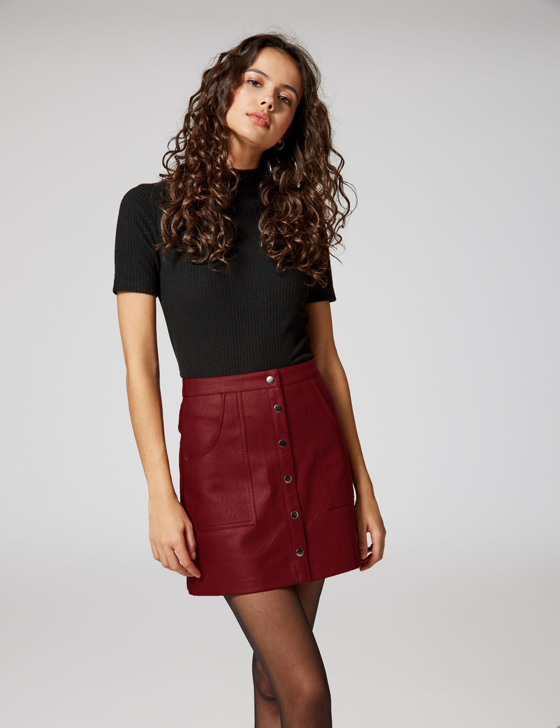jupe simili boutonnée bordeaux