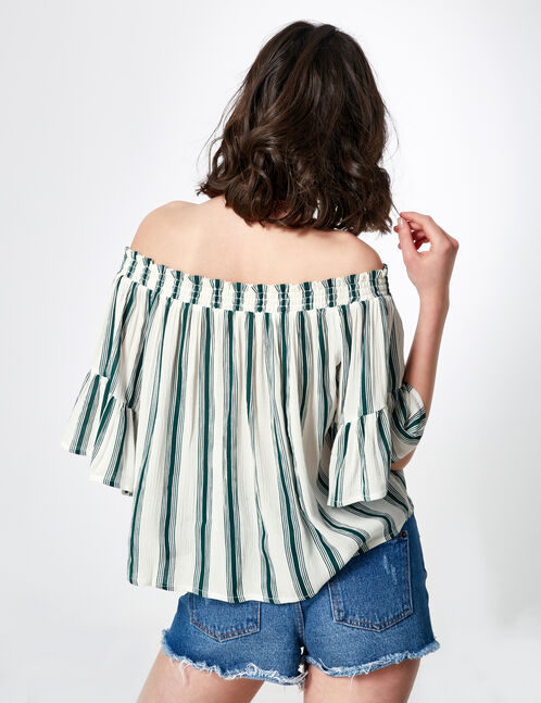 Cream and green off-the-shoulder blouse
