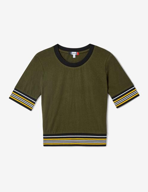 Khaki, black, white and ochre T-shirt with striped trim detail