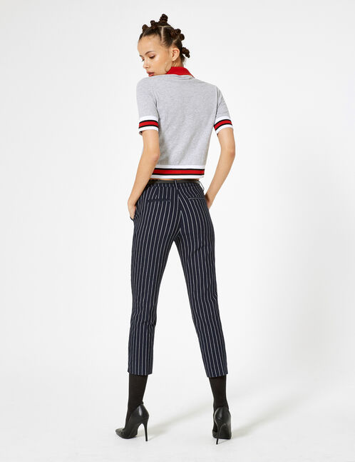 Navy blue and cream striped trousers with belt
