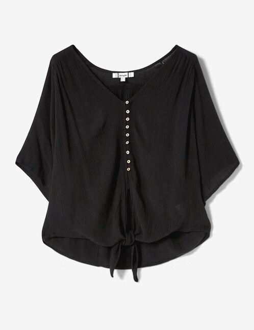 blouse à nouer noir