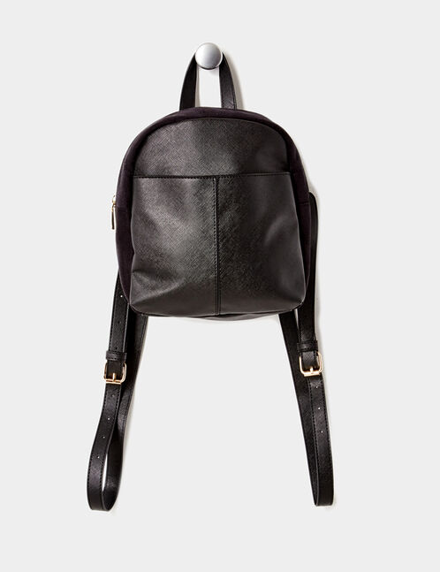 Small black mixed fabric backpack