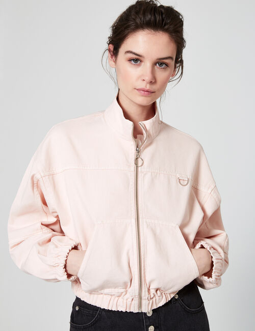 Stand-up collar denim jacket
