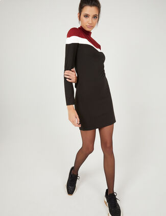 68cd2788a1d80 Black, cream and burgundy dress with chevron detail ...