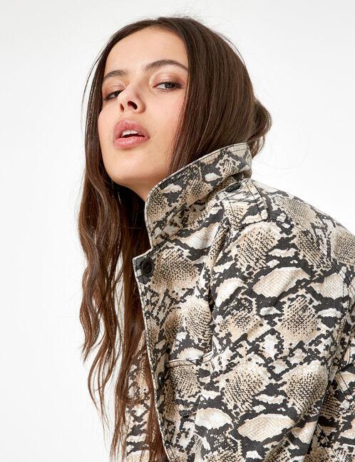 Cropped beige python print jacket
