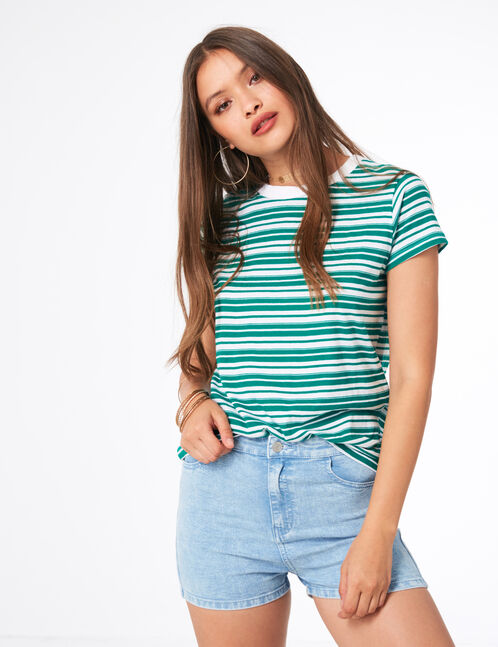 Basic green and white striped T-shirt