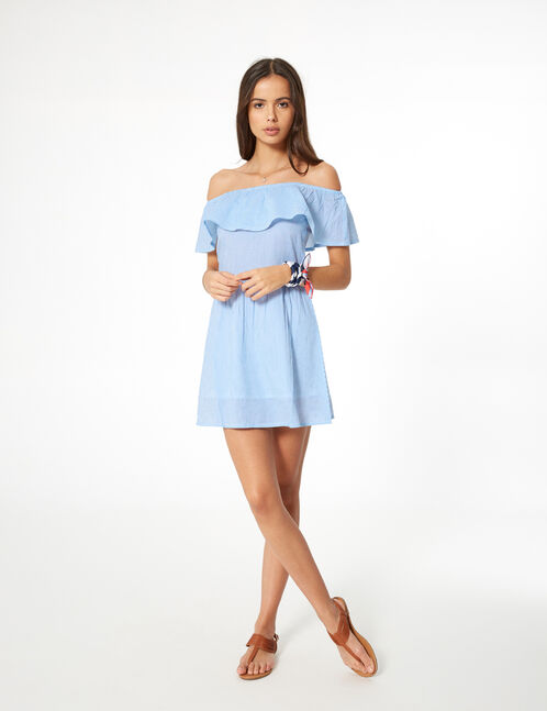 Sky blue and white striped dress with frill detail