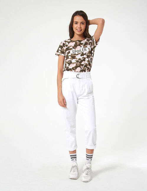 khaki, white and light pink camouflage spoiler t-shirt