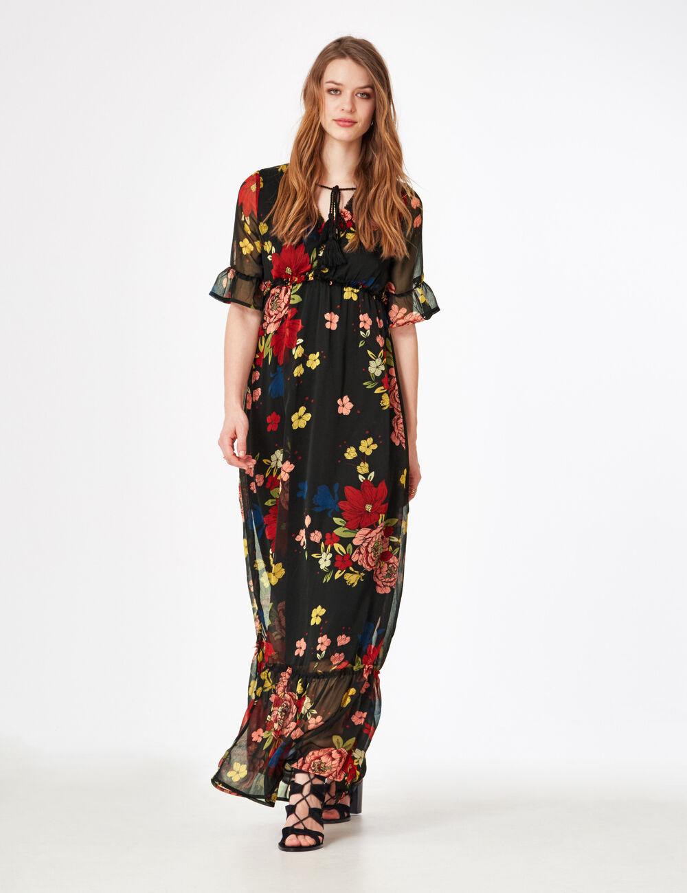 Robe Fleurie Longue Avec Manche Courte Robes A La Mode De 2018 2019