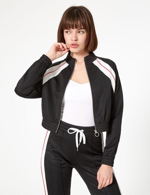 Black zip-up jogging jacket