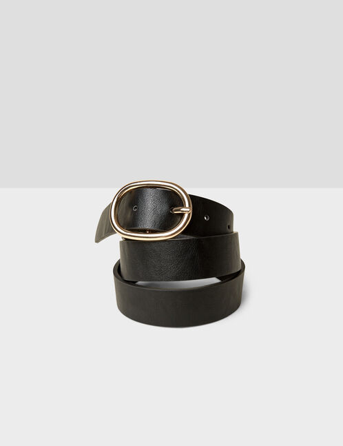 Black belt with oval buckle detail