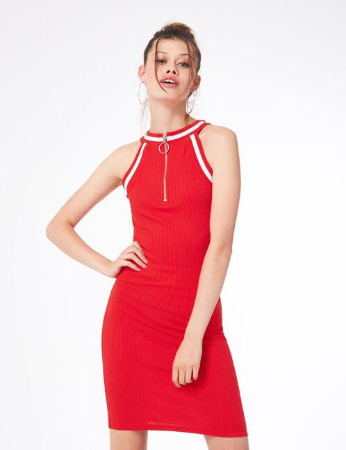 robe tube zippée rouge