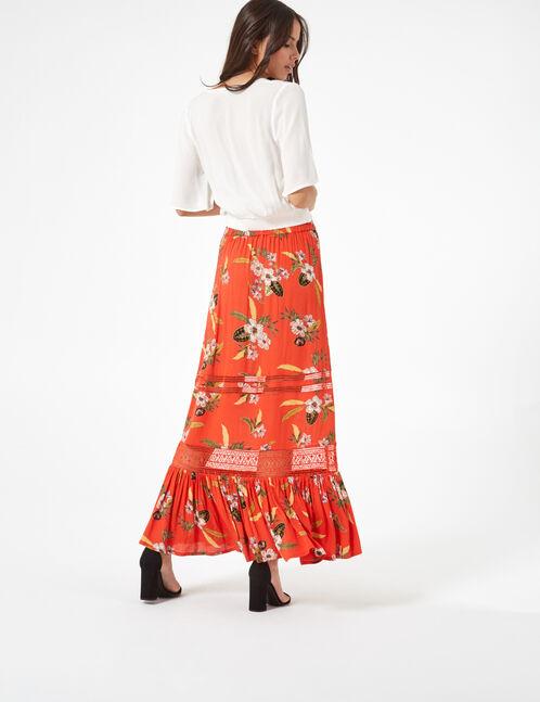 jupe longue fleurie orange