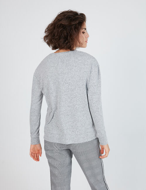 tee-shirt manches longues gris chiné