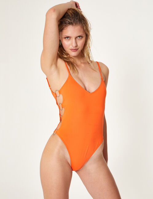 Orange swimsuit with ring detail