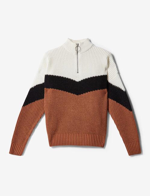 pull tricolore zippé camel, noir et écru