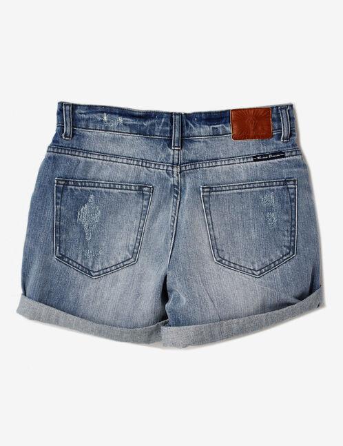 short en jean avec revers bleu clair