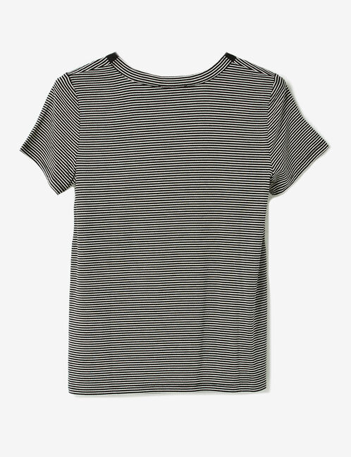 Black and white striped T-shirt with lacing detail