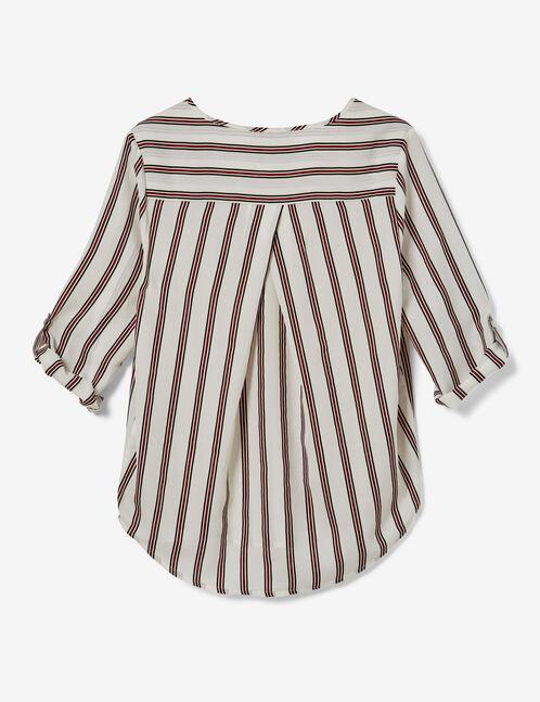 Cream, black and burgundy striped blouse