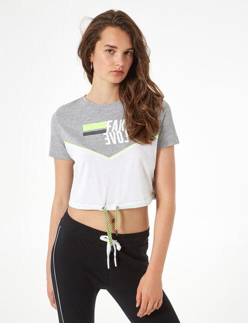 fake love T-shirt with drawstring