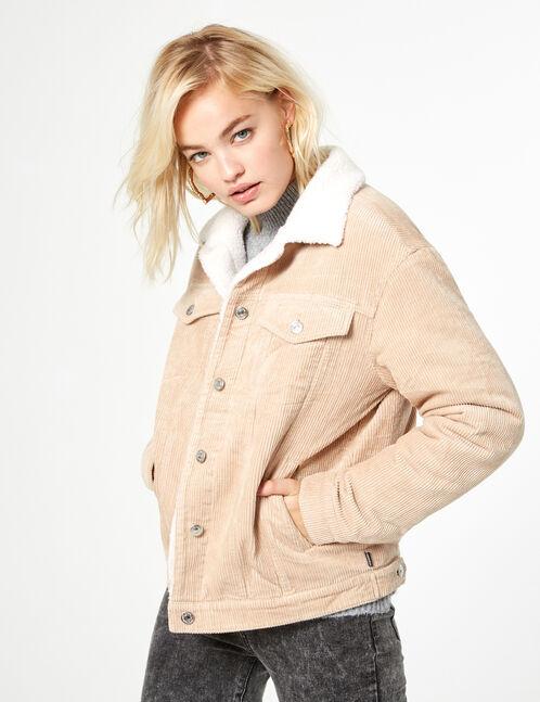 veste velours côtelé beige
