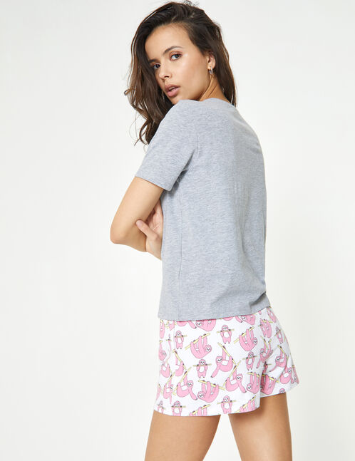 set pyjama paresse club gris, rose clair et blanc
