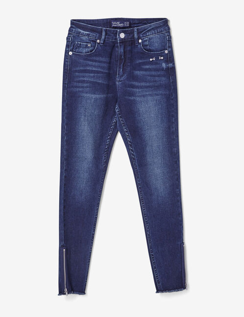 Dark blue skinny jeans with piercing detail
