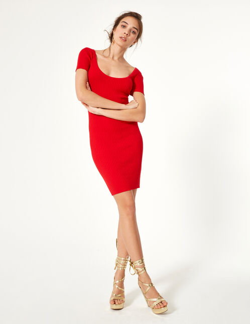 Red jumper dress with lacing detail