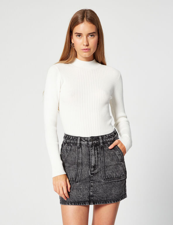 Fitted ribbed jumper