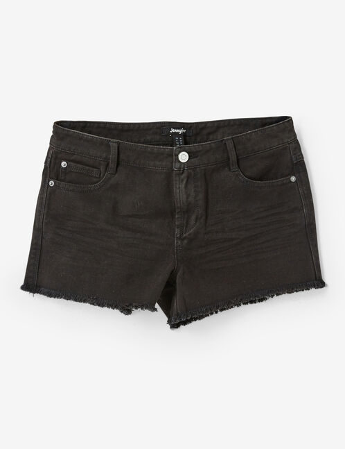 Black frayed shorts