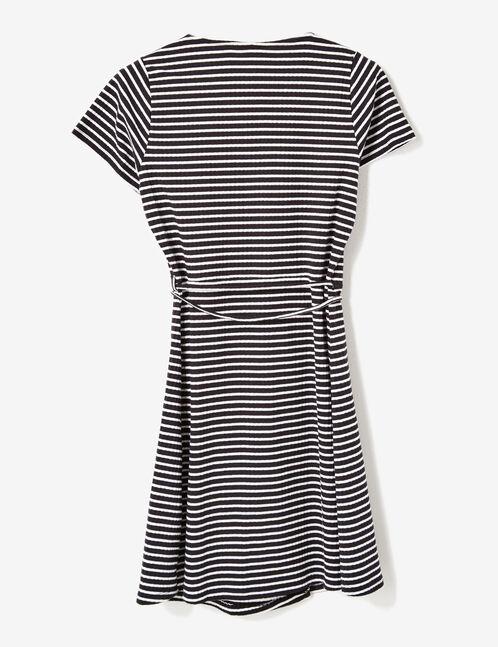 Black and cream wrap dress