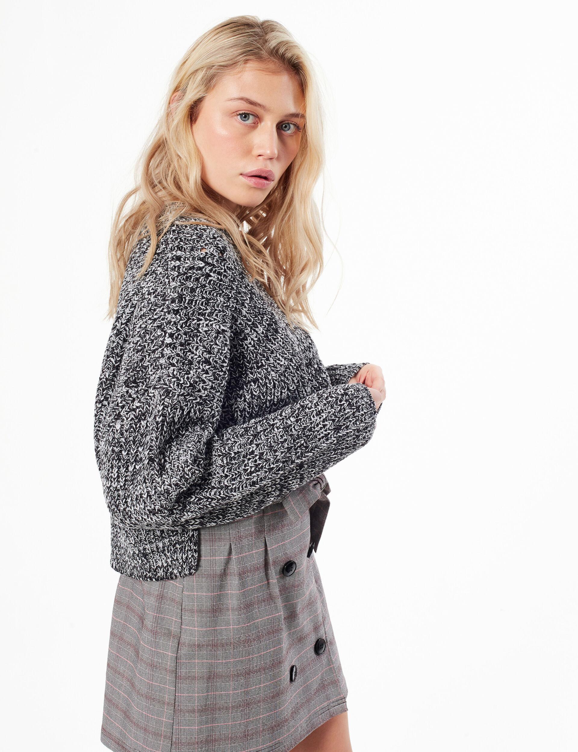 Cropped openwork braided knit jumper