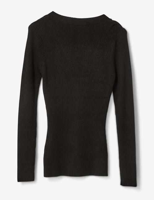 pull côtelé avec laçage noir