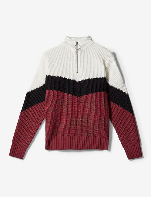 pull tricolore zippé bordeaux, noir et écru
