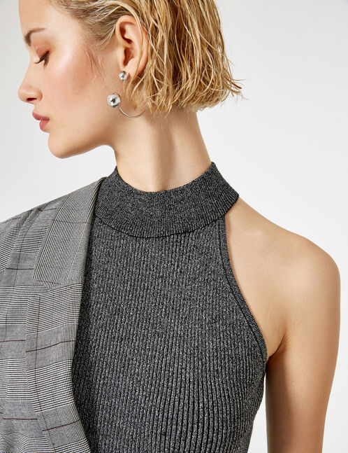 Black and silver sleeveless ribbed jumper
