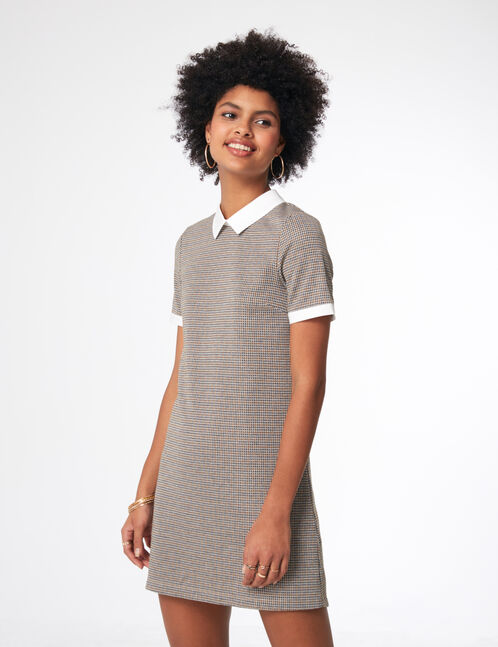Black, cream and ochre dress with white collar detail